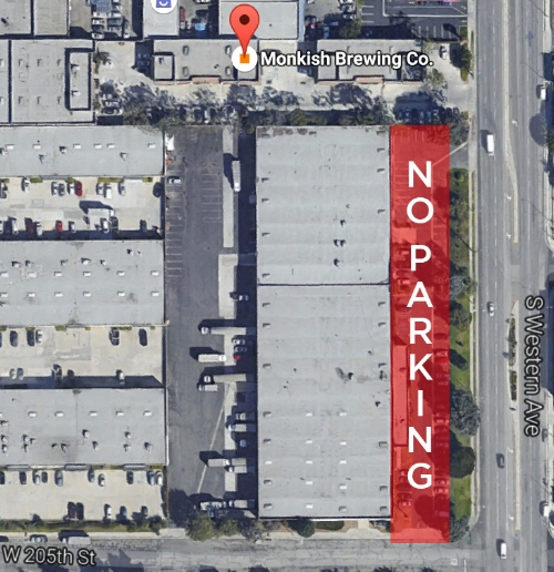 The no parking area at Monkish