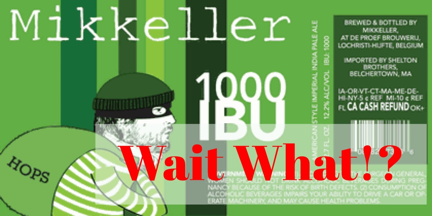 Mikkeller 100 IBU Logo with Wait What over it